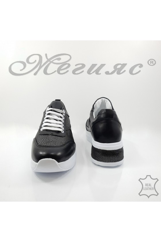 8003 Lady sport shoes black leather