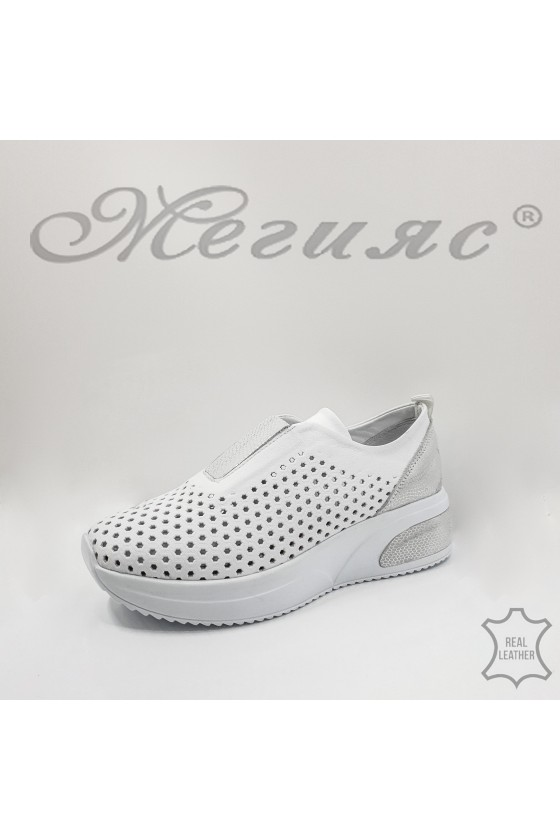 8002 Lady sport shoes white leather