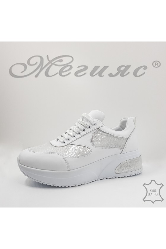8003 Lady sport shoes white+ silver leather