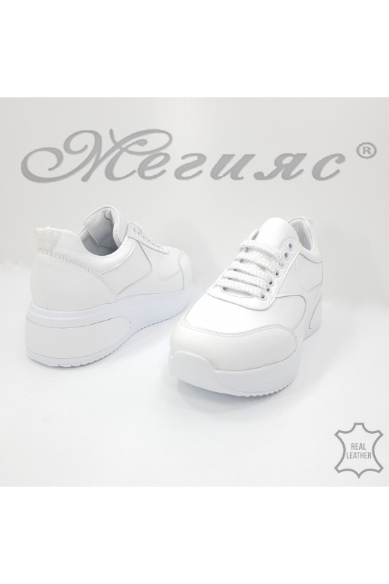 8003 Lady sport shoes white leather