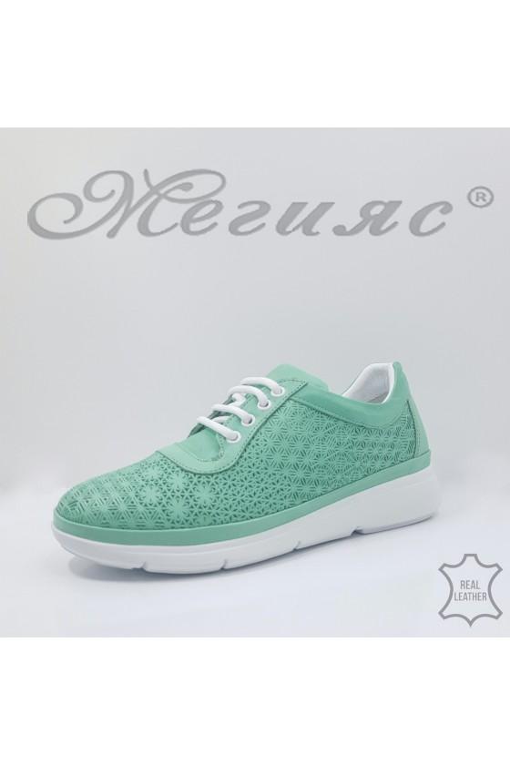 Дамски обувки от естествена кожа мента 07