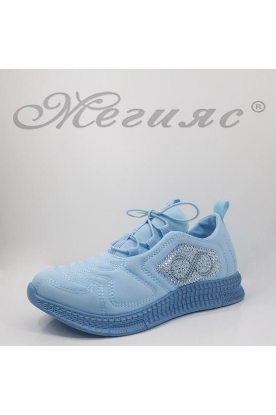 160 Дамски спортни обувки син текстил