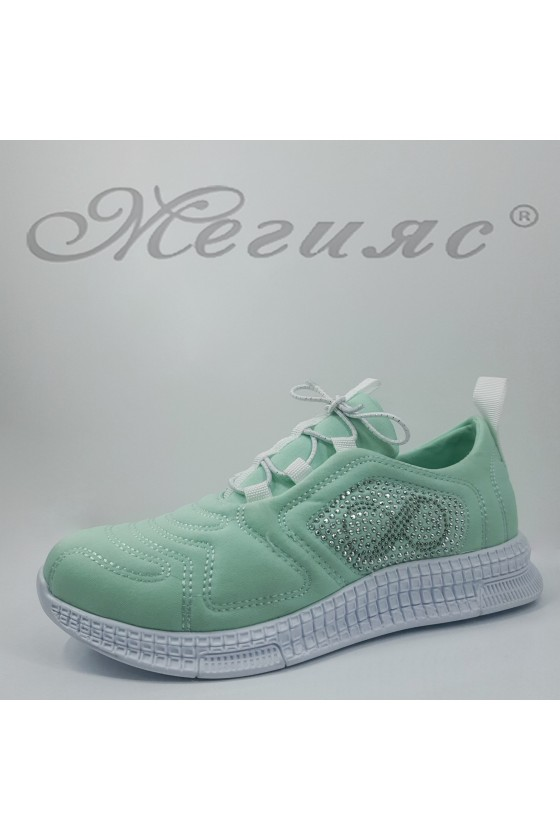Дамски спортни обувки мента текстил 160