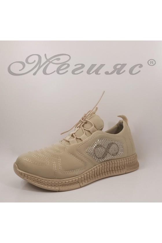 160 Дамски спортни обувки бежов текстил