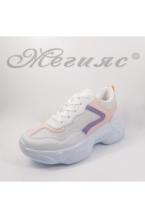 014-Z Дамски обувки спортни бяло и пудра еко кожа и текстил