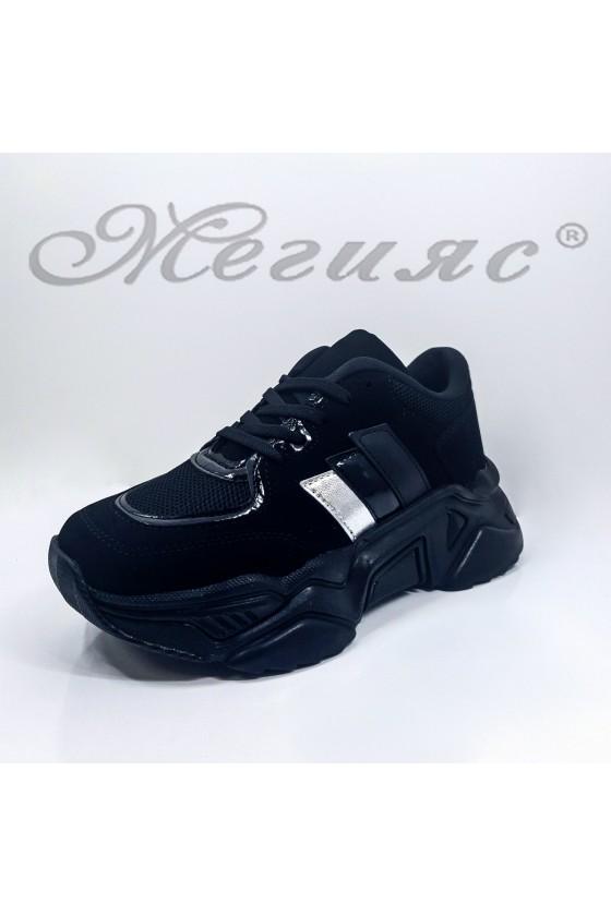 016-Z Дамски обувки спортни черни еко набук и текстил