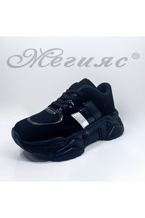 016-Z Lady sport shoes black pu