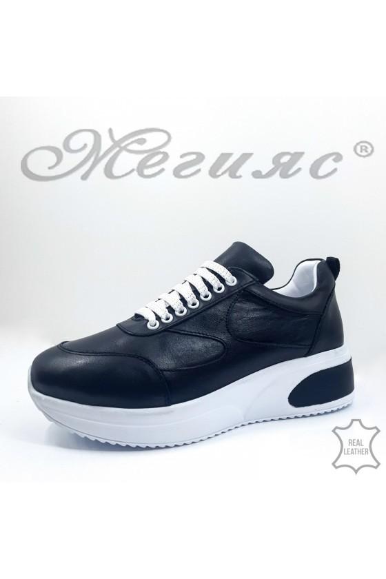 8003 Дамски обувки спортни черни естествена кожа