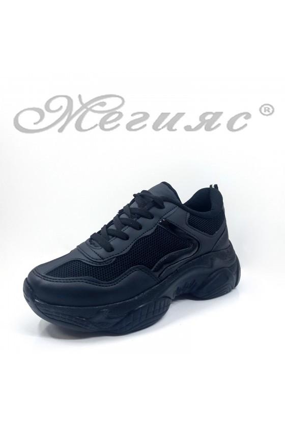 Дамски обувки спортни черни еко кожа и текстил