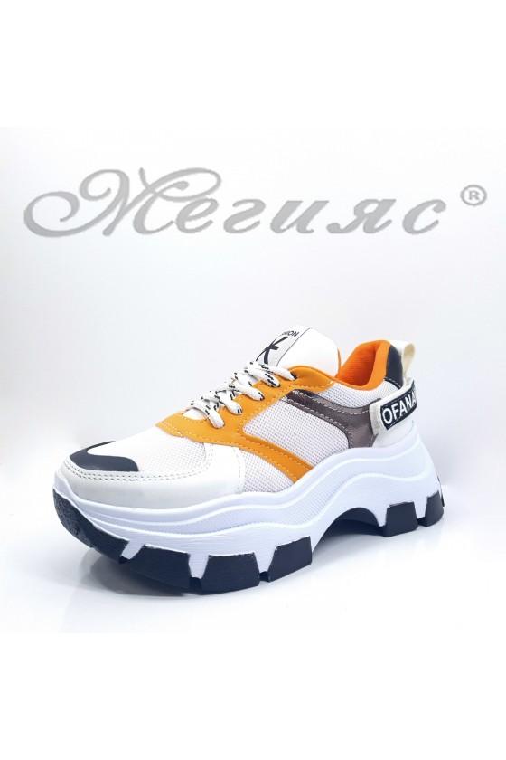 3132 Дамски спортни обувки бяло с горчица от еко кожа и текстил