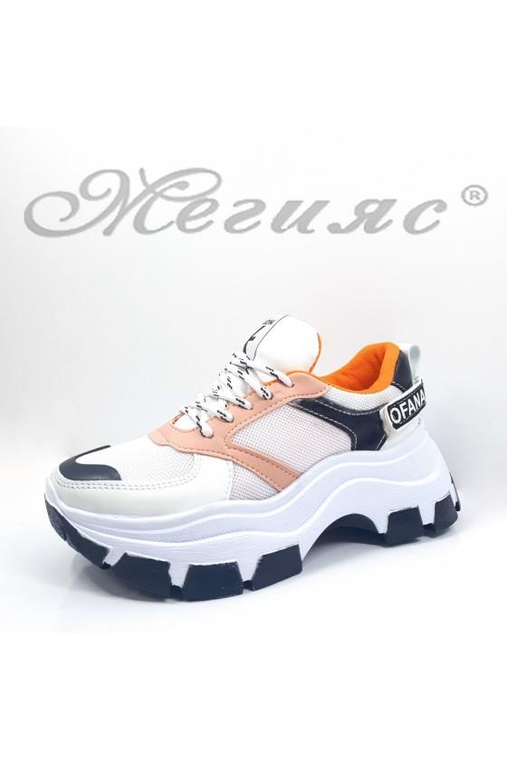 Дамски спортни обувки бяло с пудра от еко кожа и текстил 3132