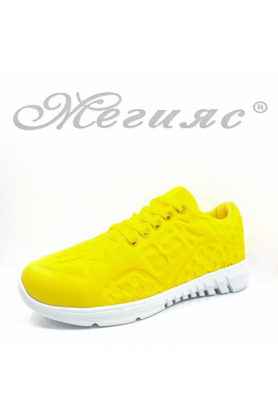 636 Дамски спортни обувки жълт текстил