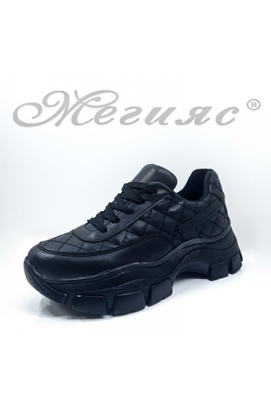 3138 Дамски обувки спортни черни еко кожа