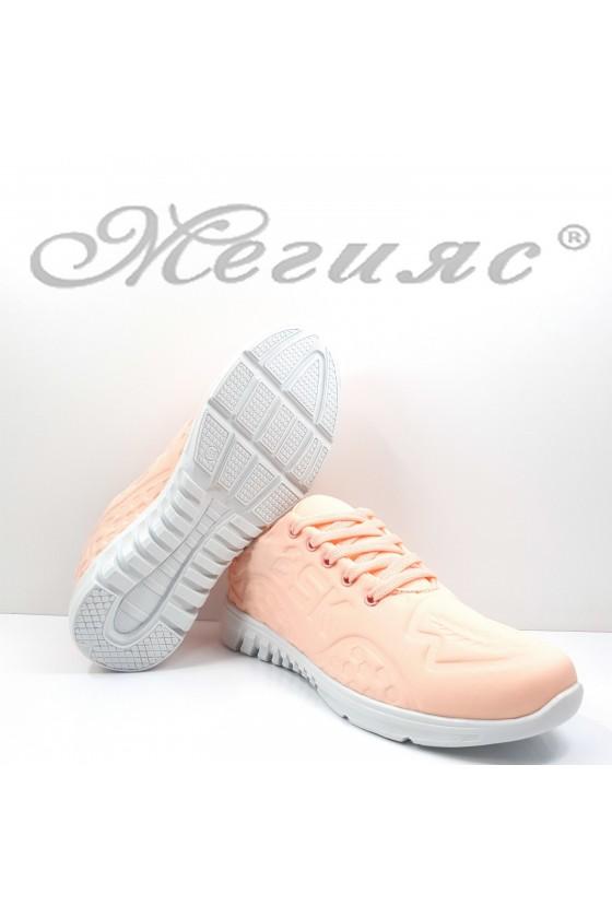 Дамски обувки  спортни пудра текстил 636