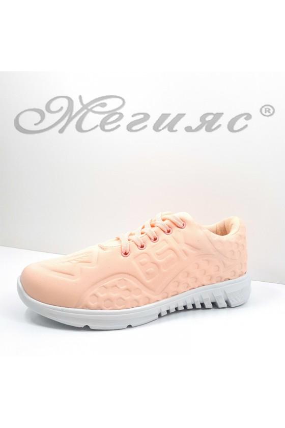 636 Дамски спортни обувки пудра текстил