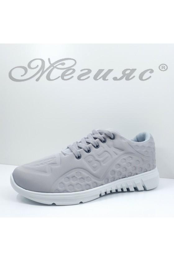 636 Дамски спортни обувки сиви текстил