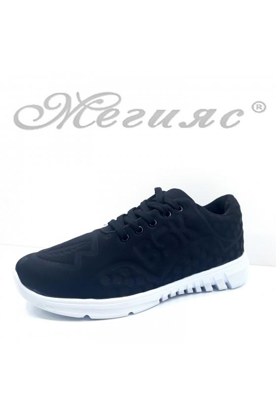 636 Дамски спортни обувки черно текстил