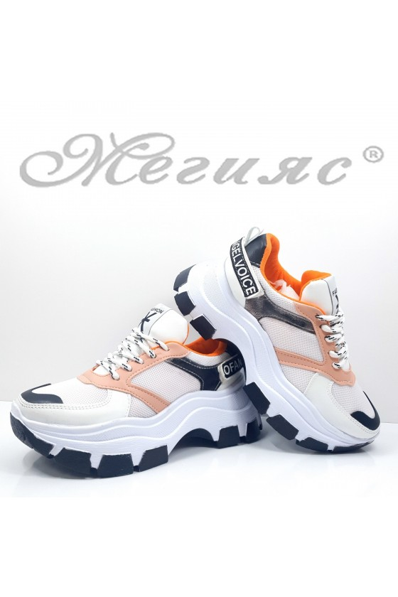 3132 Lady sports shoes white+pudra