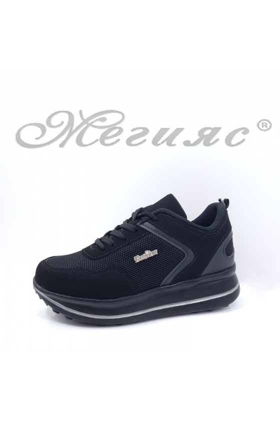012-Z Lady sport shoes black pu