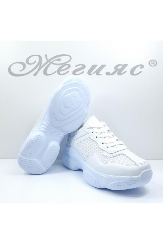 Дамски обувки спортни бяла еко кожа и текстил 014-Z