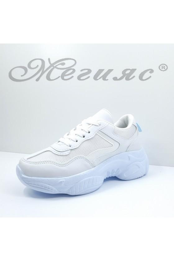 014-Z Дамски обувки спортни бяла еко кожа и текстил