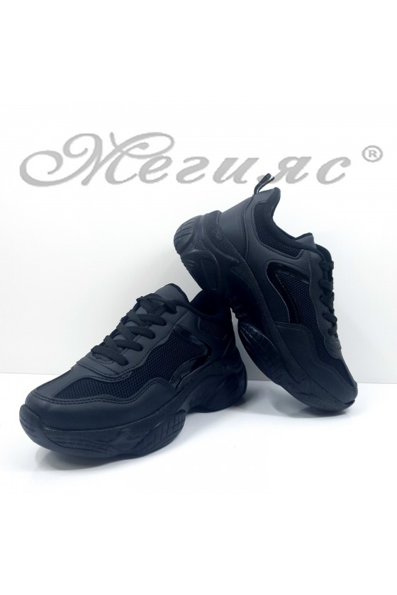 Дамски обувки спортни черни еко кожа и текстил 014-Z