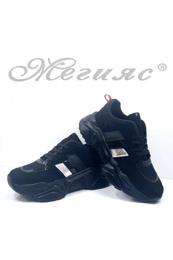 016-Z Lady sport shoes black pu