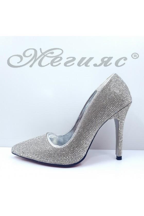 Дамски обувки елегантни сребърен текстил с камъни остри на висок ток 1294