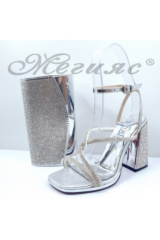 1794 Lady sandals silver with bag 1519