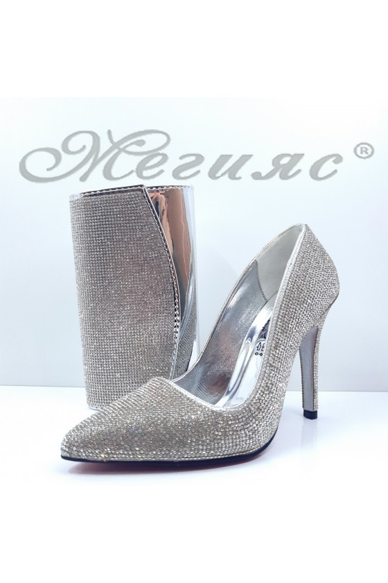 1294 Lady shoes silver with bag 1519