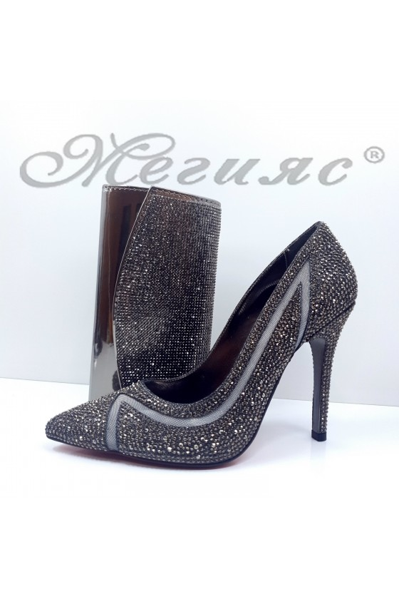 1655 Lady shoes dk grey with bag 1519