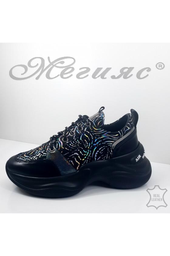 Дамски обувки спортни естествена кожа черни 800