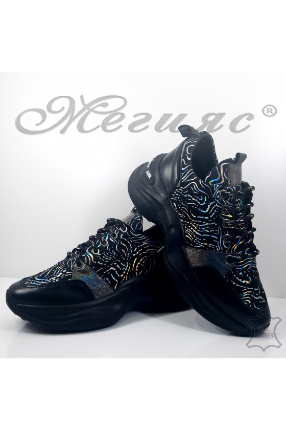 800 Lady sport shoes black leather