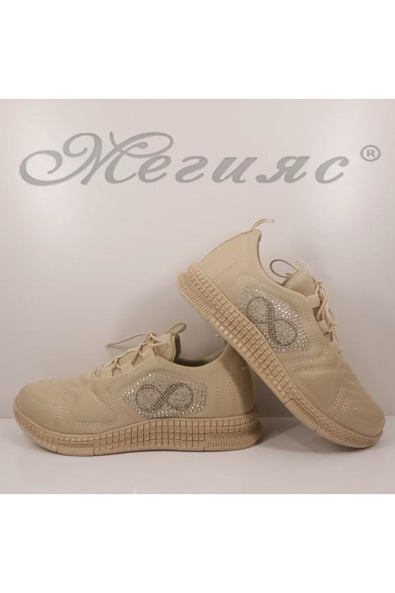 Дамски спортни обувки бежов текстил 160