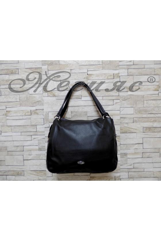 6007  Дамска чанта спортно-елегантна черна от еко кожа