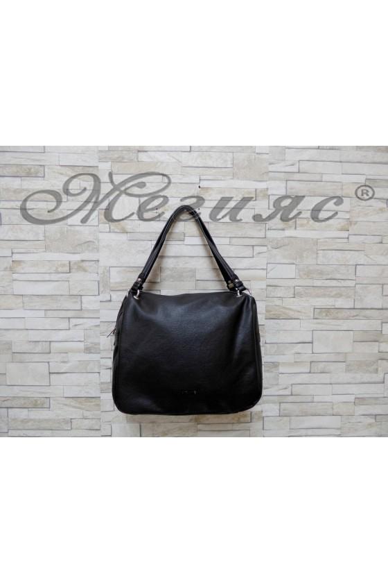 Дамска чанта спортно-елегантна черна от еко кожа 6007