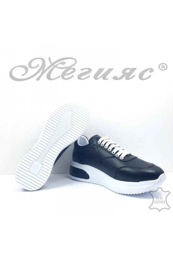 Дамски обувки спортни естествена кожа черни 8003