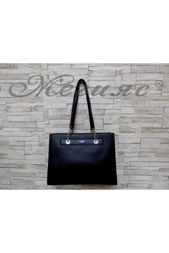 5303  Дамска чанта спортно-елегантна черна еко кожа