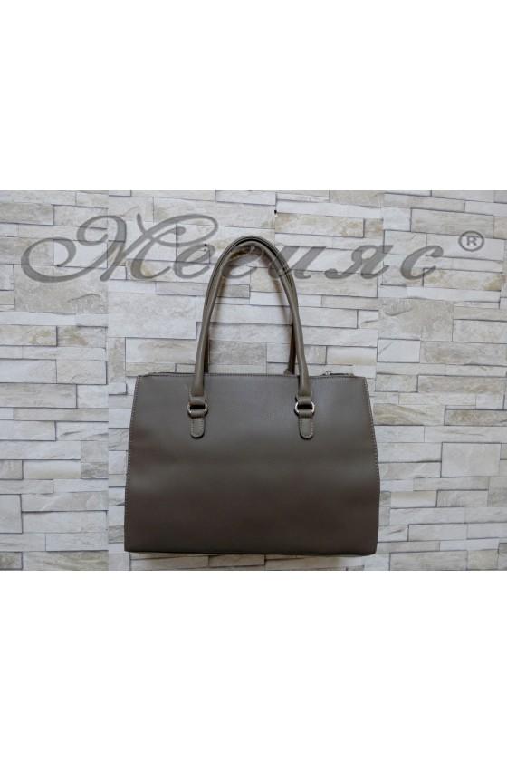 3503 Дамска чанта спортно-елегантна каки еко кожа