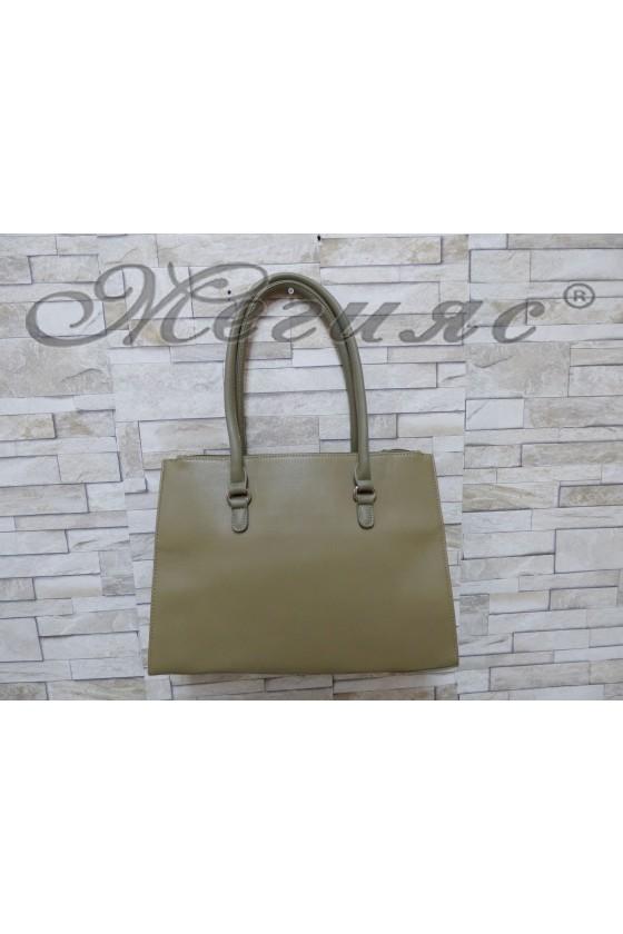3503 Дамска чанта спортно-елегантна тъмно зелена еко кожа