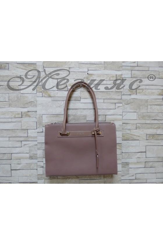 3503 Дамска чанта спортно-елегантна пепел от рози еко кожа