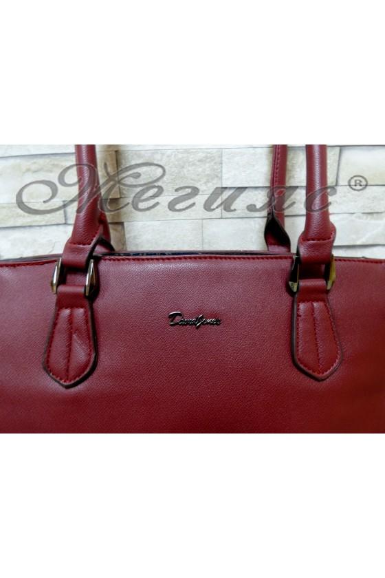 Дамска чанта спортно-елегантна бордо еко кожа 5391