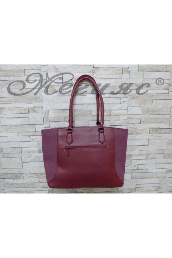5391 Дамска чанта спортно-елегантна бордо еко кожа