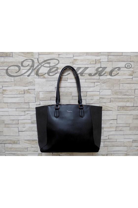 Дамска чанта спортно-елегантна черна еко кожа