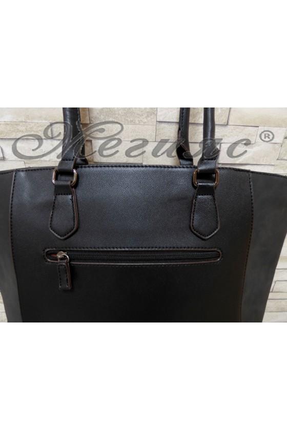 Дамска чанта спортно-елегантна черна еко кожа 5391
