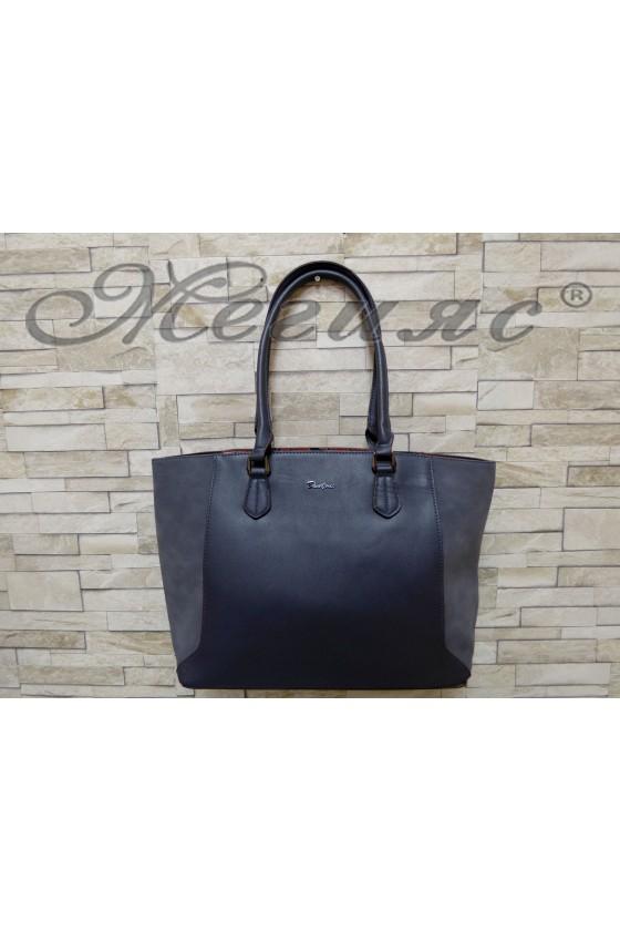 Дамска чанта спортно-елегантна синя еко кожа