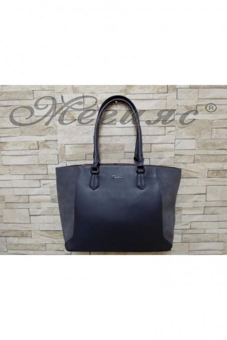 5391 Дамска чанта спортно-елегантна синя еко кожа