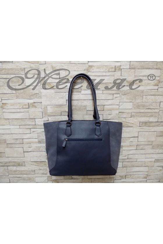 Дамска чанта спортно-елегантна синя еко кожа 5391