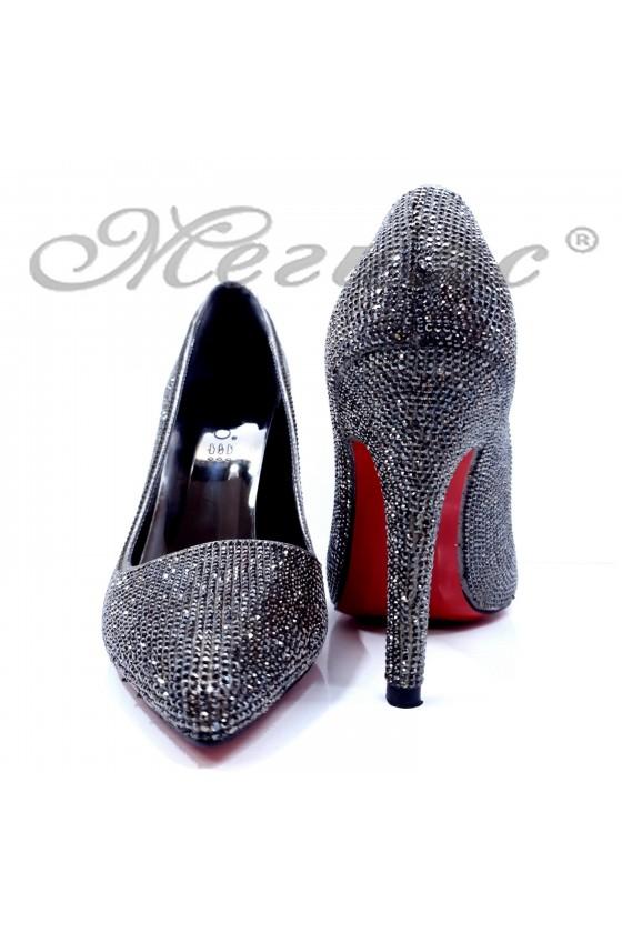 Дамски обувки с камъни елегантни графит текстил остри на висок ток 1294
