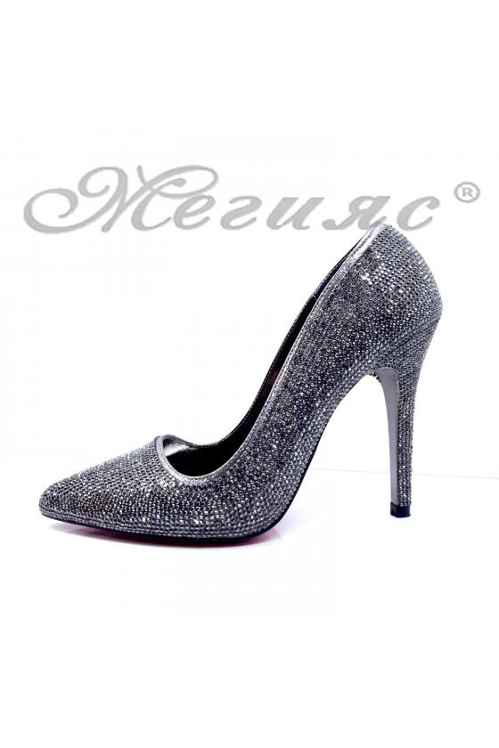 Дамски обувки елегантни графит текстил с камъни остри на висок ток 1294